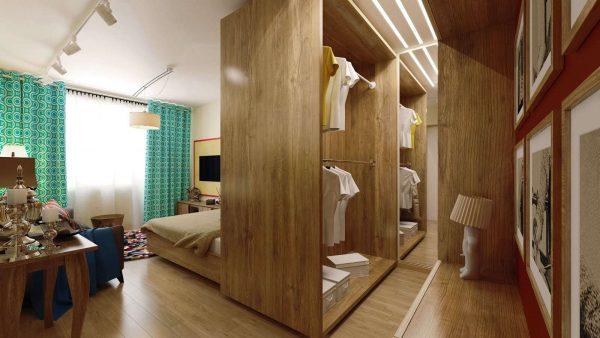 гардеробная в интерьере спальни-гостиной