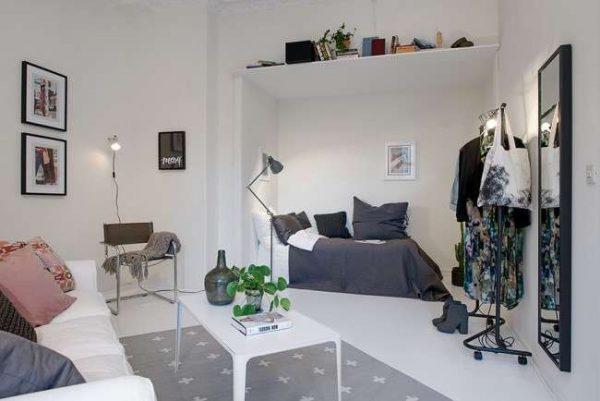 спальня-гостиная с гардеробной