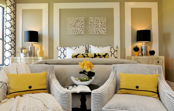 роскошный интерьер спальни гостиной