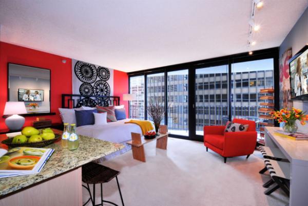 красный в интерьере спальни гостиной