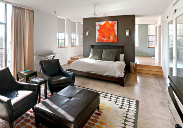 мягкая мебель в интерьере спальни гостиной