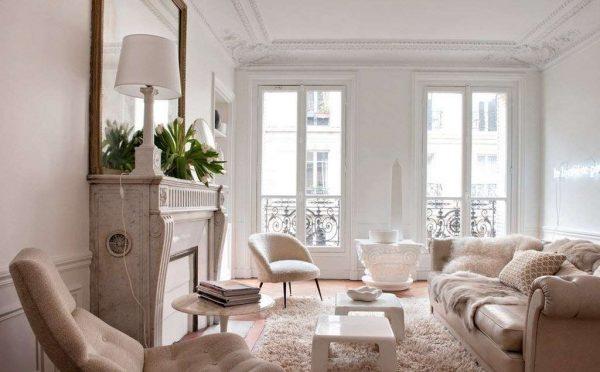 пастельные светлые тона в интерьере гостиной