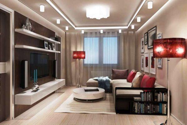 красные торшеры в интерьере гостиной
