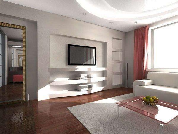 белый интерьер гостиной в сочетании нежно-розовым цветом