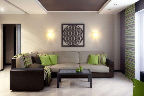 стильная картина в интерьере лаконичной гостиной