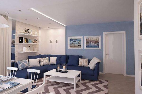угловой синий диван в интерьере гостиной