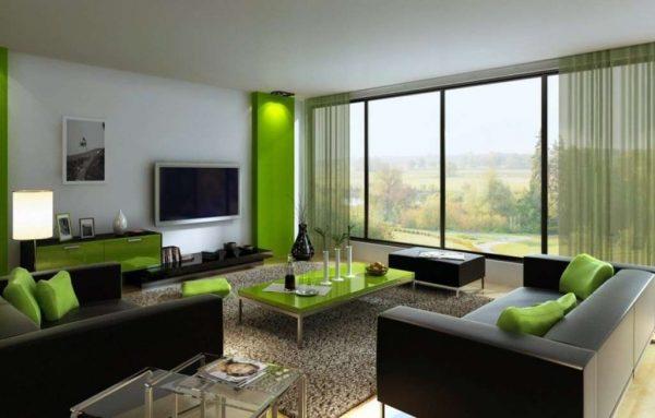 сочетание зелёного и серого цвета в интерьере гостиной