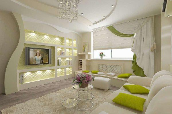 фигурные стены из гипсокартона в интерьере гостиной
