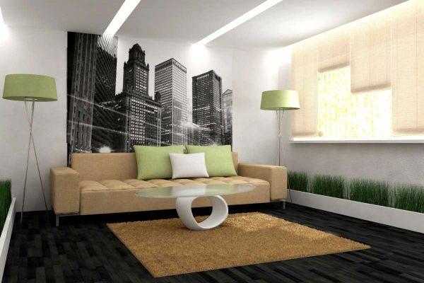 Интерьер гостиной просто и со вкусом с обоями на стене