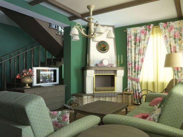 зелёные стены в интерьере гостиной в стиле прованс