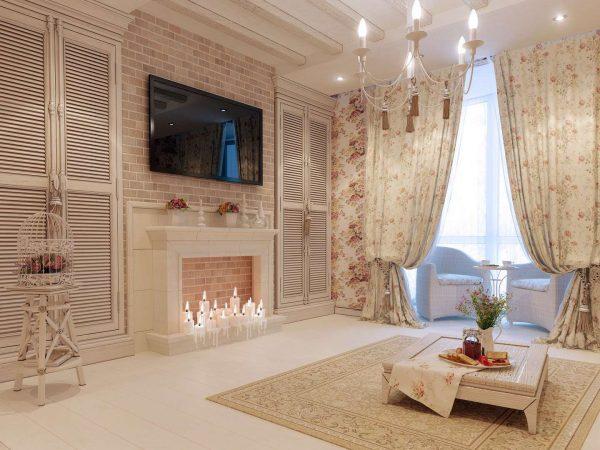 камин в гостиной в стиле прованс