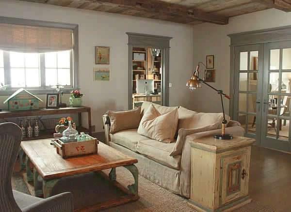 деревянная мебель в интерьере гостиной прованс