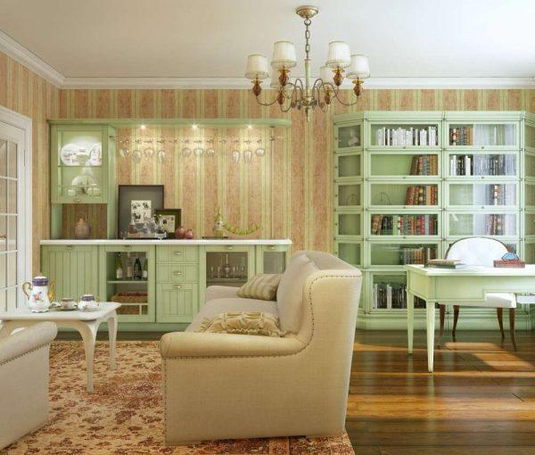 в интерьере гостиной в стиле прованс зелёная мебель