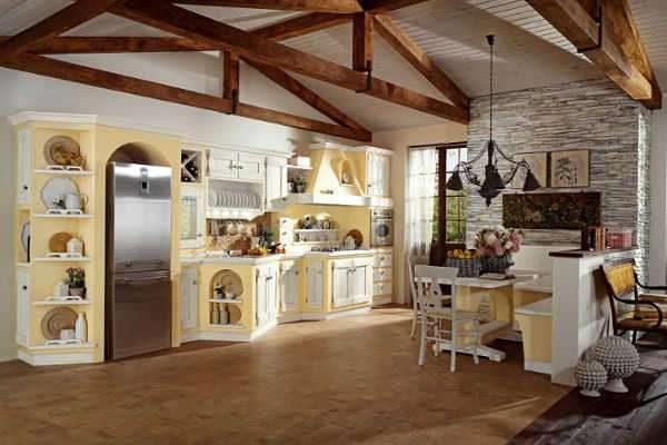 в интерьере гостиной в стиле прованс деревянные балки потолка