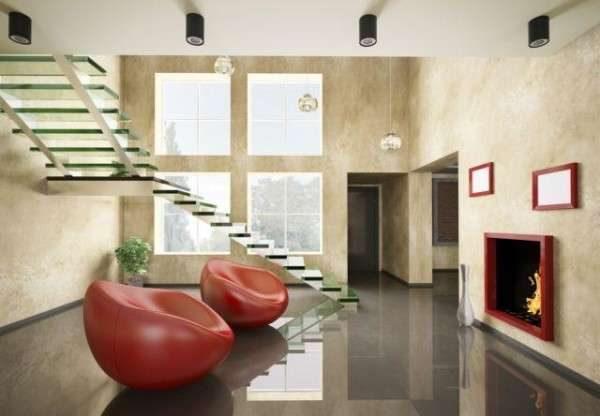 консольная лестница без перил в интерьере гостиной