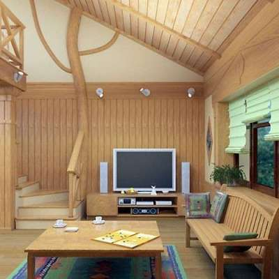 роскошный декор из дерева лестницы в интерьере гостиной