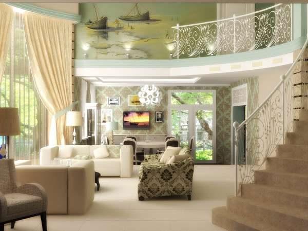 лестница с ажурными перилами в интерьере гостиной