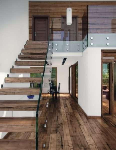 лестница в гостиной одномаршевая со стеклянными перилами