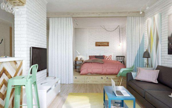 скандинавский стиль в гостиной-спальни 18 кв.метров