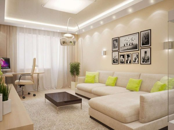 угловой диван в гостиной-спальне 18 кв.метров