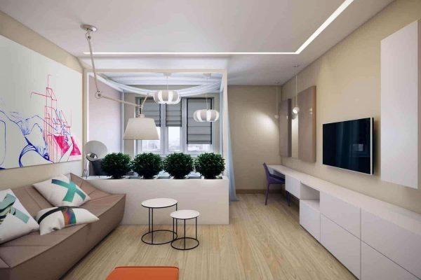 зонирование гостиной-спальни 18 кв.метров