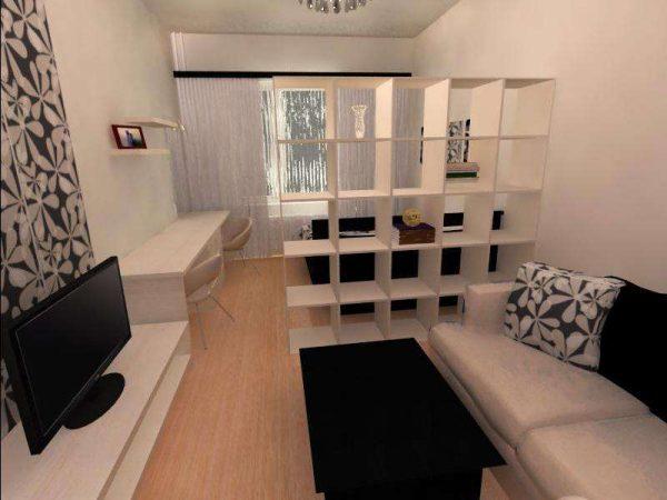 зонирование перегородкой с открытыми полками гостиной-спальни 18 кв.метров