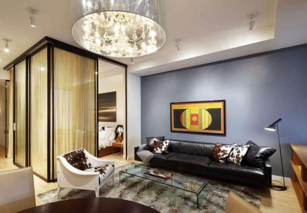 прозрачная перегородка в интерьере гостиной спальни 18 кв. метров