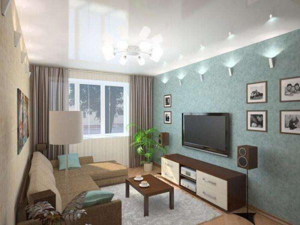 интерьер гостиной-спальни 18 кв.метров