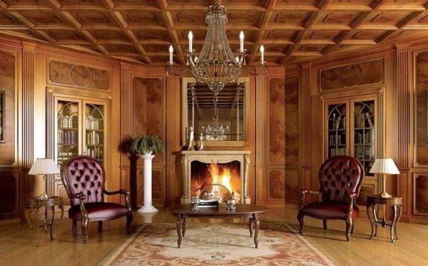 Гостиная в английском стиле с деревянными панелями