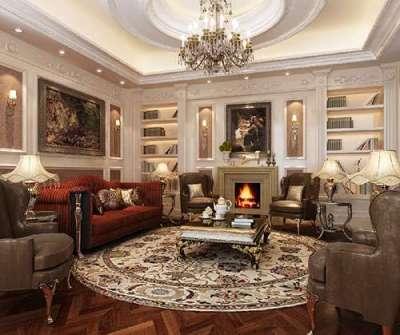 многоуровневый белый потолок в гостиной в английском стиле