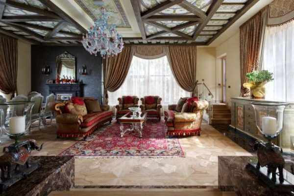 ковёр в интерьере гостиной в английском стиле