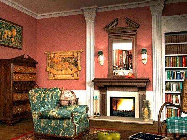 стены в интерьере гостиной в английском стиле и декор
