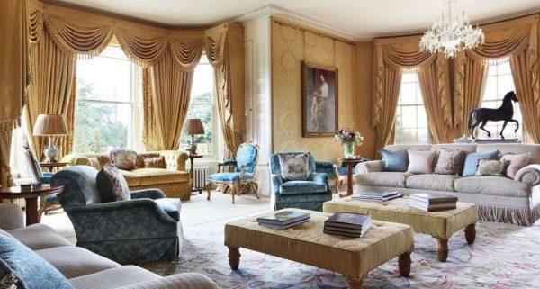Жёлтая гостиная, шёлковые шторы с драпировкой