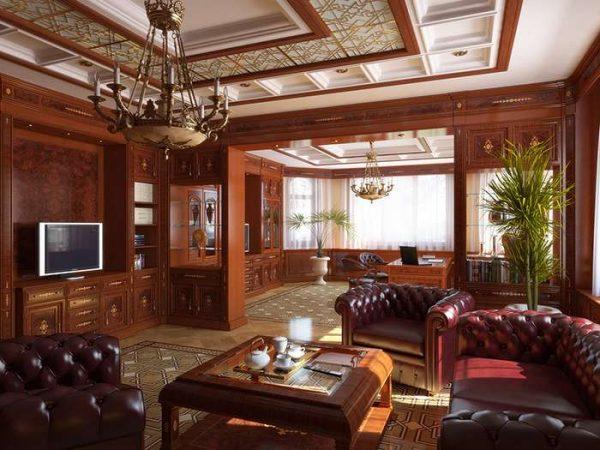 гостиная в английском стиле с мебелью из дерева