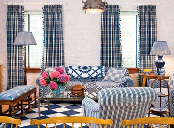 гостиная в английском стиле в синем цвете