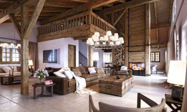 гостиная в деревянном доме в стиле шале