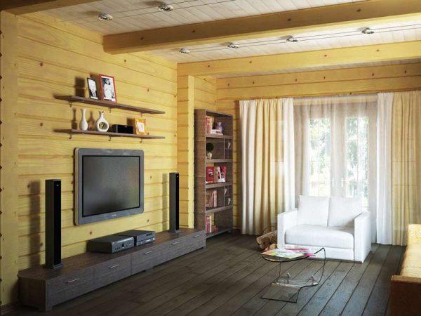 светлый интерьер гостиной в деревянном доме