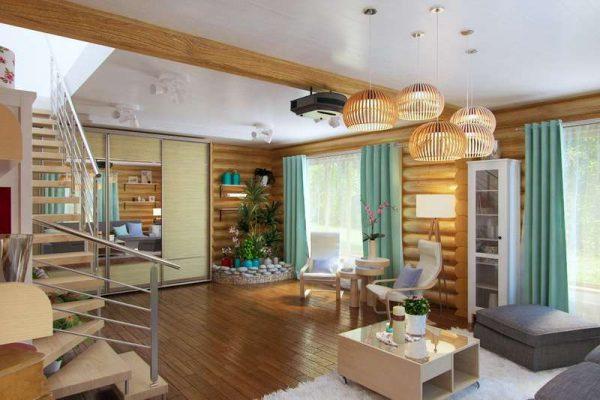 белый потолок в интерьере гостиной в деревянном доме