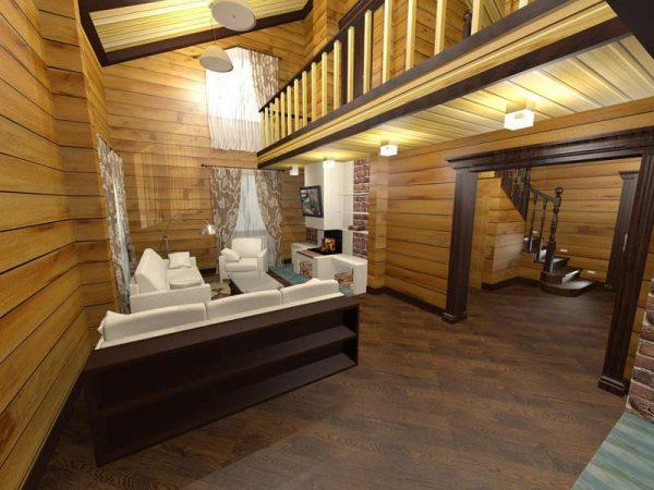 белая мебель в интерьере гостиной в деревянном доме