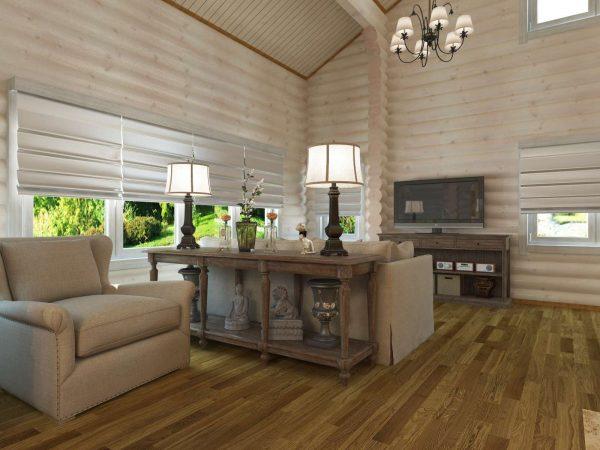 белый интерьер дома из дерева