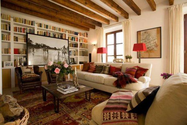 текстиль в гостиной в стиле кантри