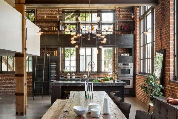 кухонный серый гарнитур лофт в интерьере гостиной