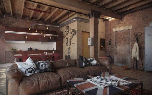 интерьер гостиной в стиле лофт с кожаным диваном