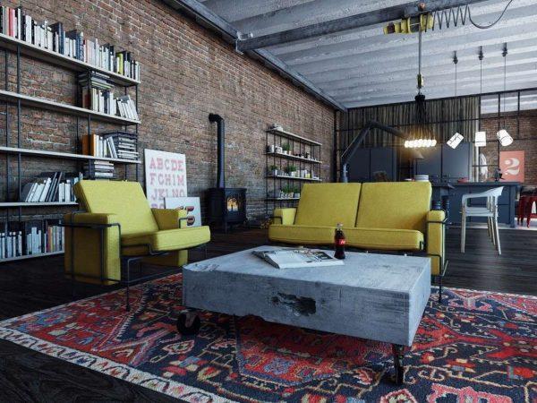 яркий ковёр на полу в интерьере гостиной в стиле лофт
