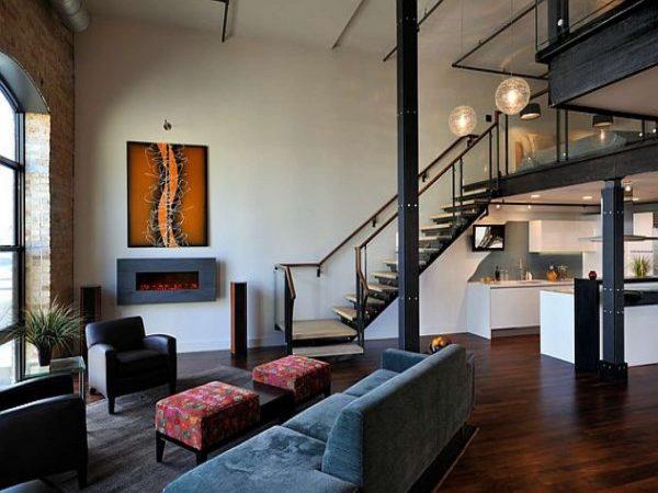 лофт прекрасно вписывается в гостиную с высокими потолками
