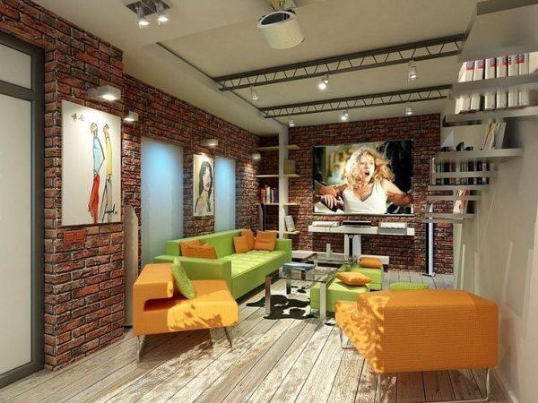 интерьер гостиной в стиле лофт с картинами на стенах