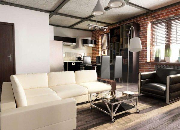 интерьер гостиной в стиле лофт белый диван
