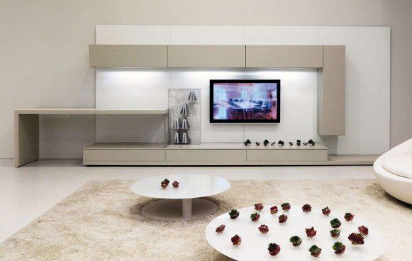 корпусная стенка в гостиной в стиле минимализм