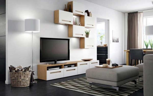 корпусная горка в гостиную в стиле минимализм