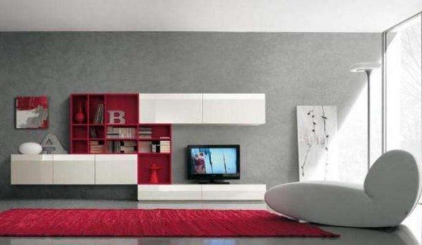 бело-розовый интерьер в гостиной в стиле минимализм